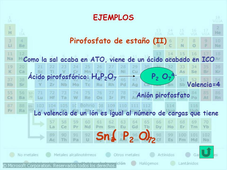 ( ) Sn P2 O7 EJEMPLOS Pirofosfato de estaño (II) P2 O74- 2