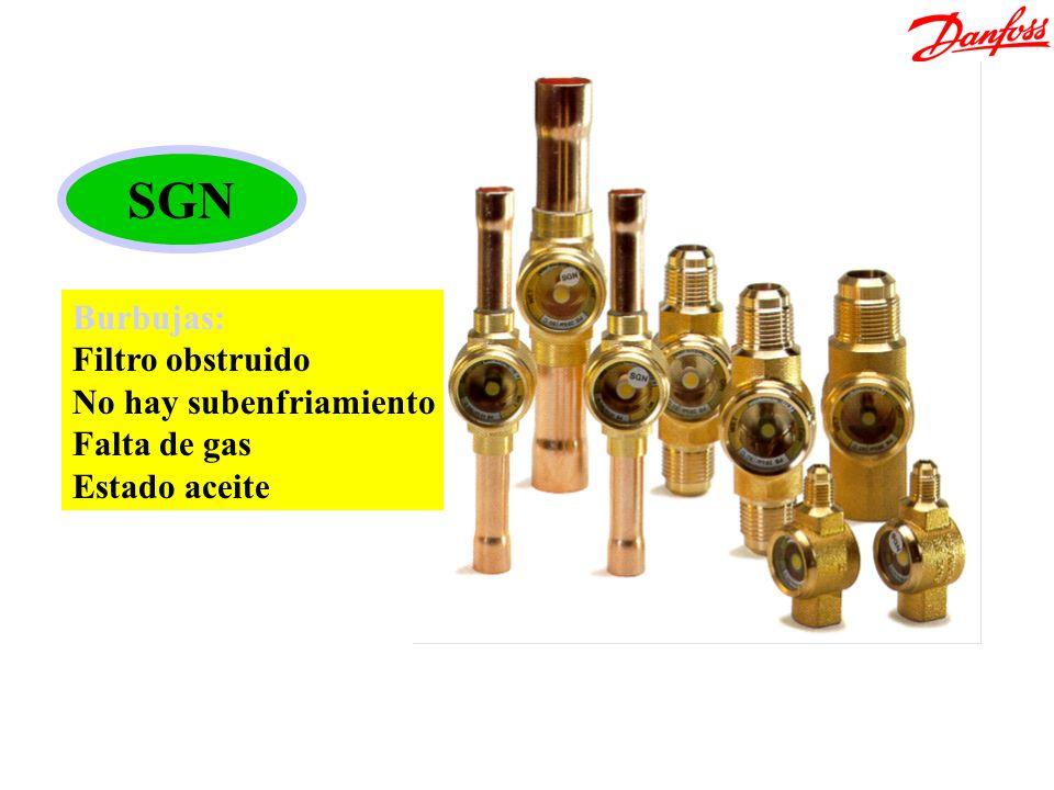 Bodegón SGI/SGN SGN Burbujas: Filtro obstruido No hay subenfriamiento