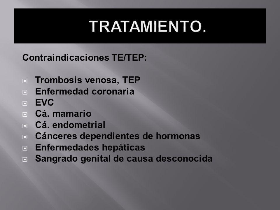 TRATAMIENTO. Contraindicaciones TE/TEP: Trombosis venosa, TEP