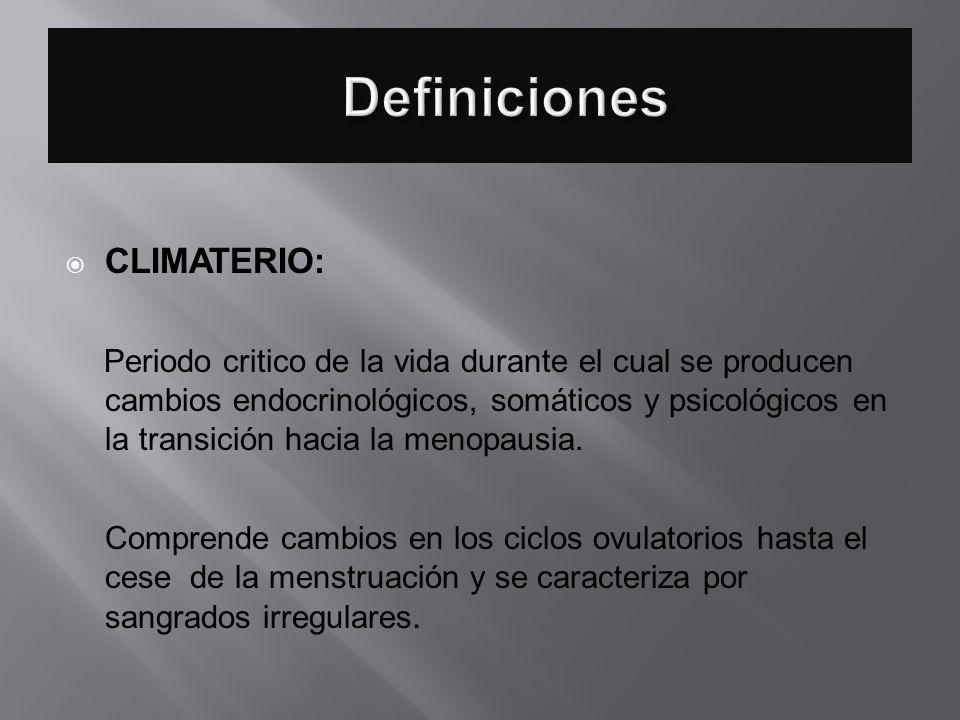 Definiciones CLIMATERIO: