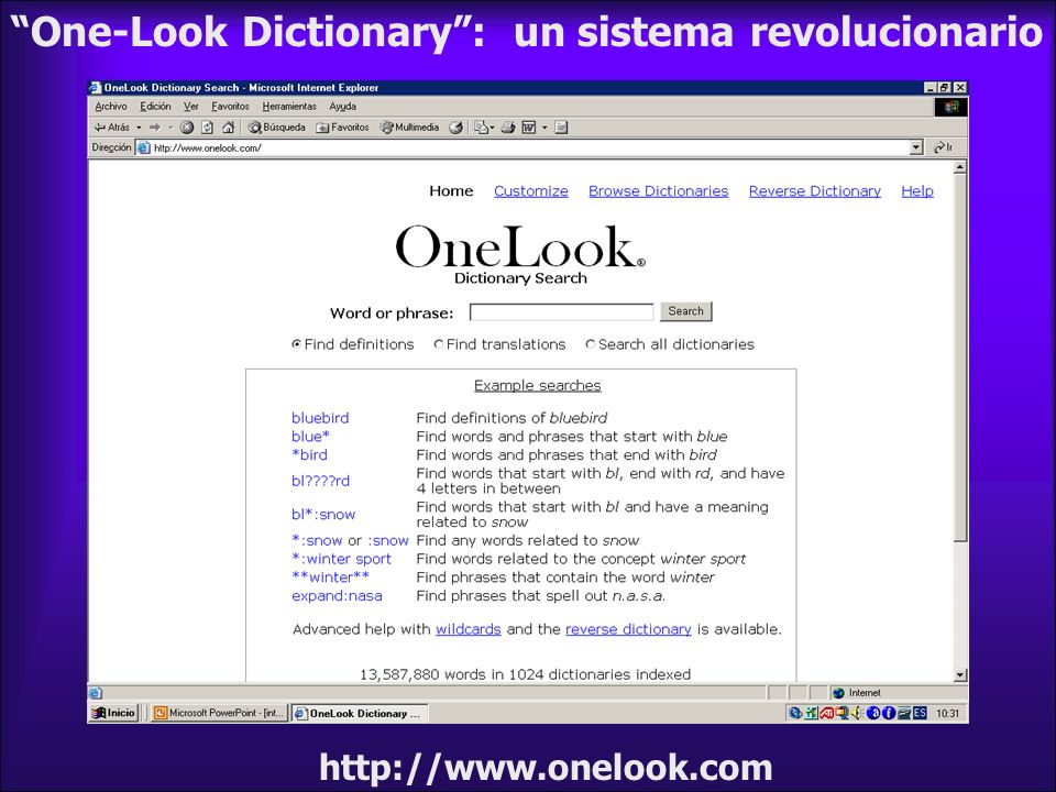One-Look Dictionary : un sistema revolucionario