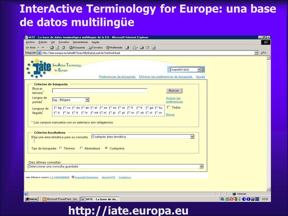 InterActive Terminology for Europe: una base de datos multilingüe