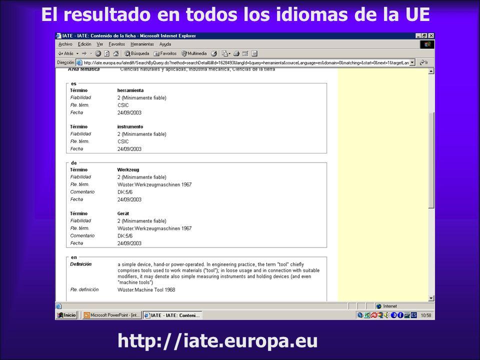 El resultado en todos los idiomas de la UE