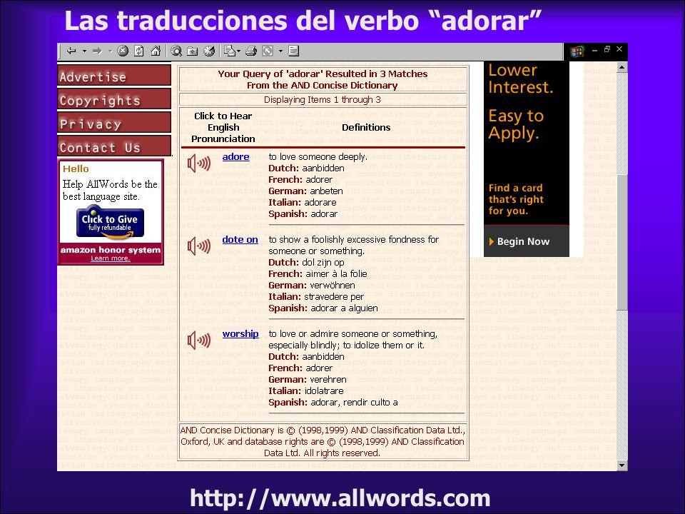Las traducciones del verbo adorar
