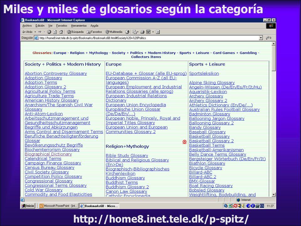 Miles y miles de glosarios según la categoría