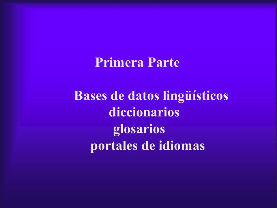 Bases de datos lingüísticos diccionarios
