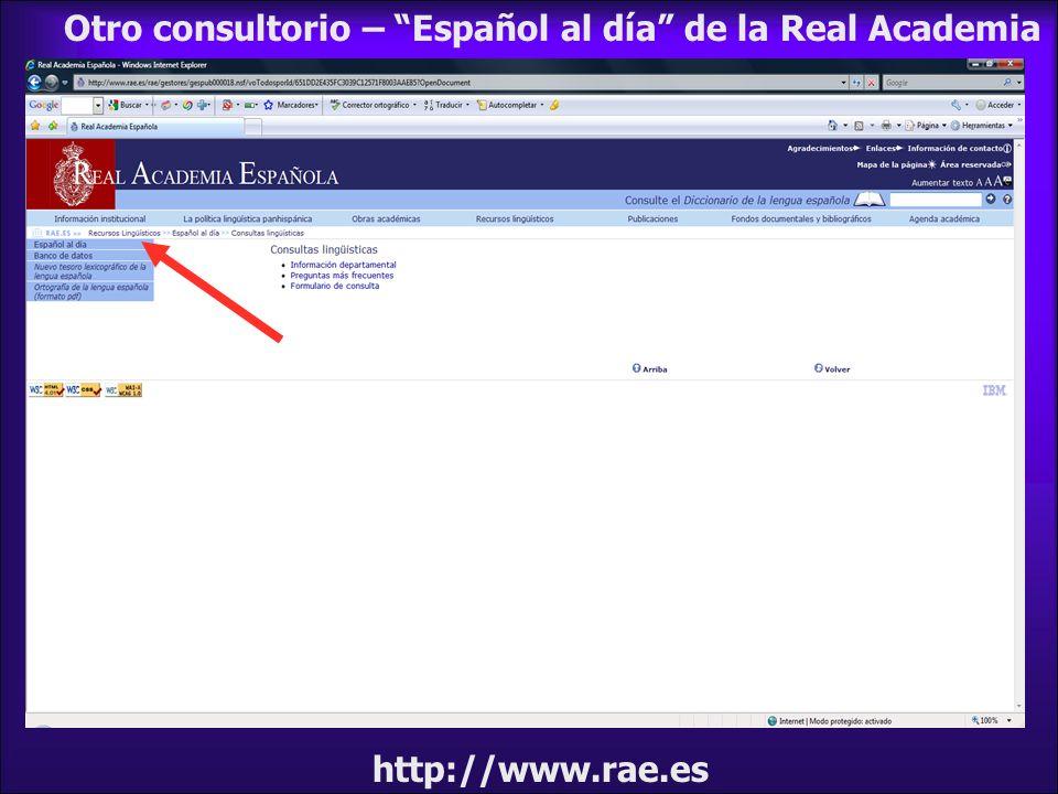 Otro consultorio – Español al día de la Real Academia
