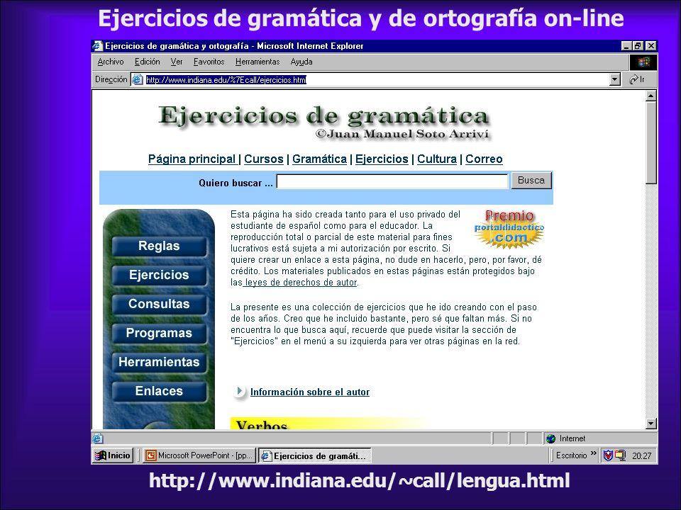 Ejercicios de gramática y de ortografía on-line