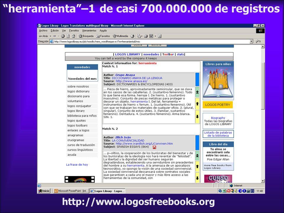 herramienta –1 de casi 700.000.000 de registros