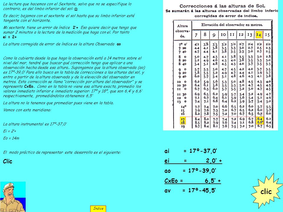 clic Clic ai = 17º-37,0' ei = 2,0' + ao = 17º-39,0' CxEo = 6,5' +