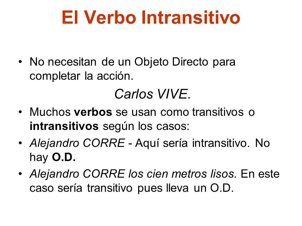 El Verbo Intransitivo No necesitan de un Objeto Directo para completar la acción. Carlos VIVE.