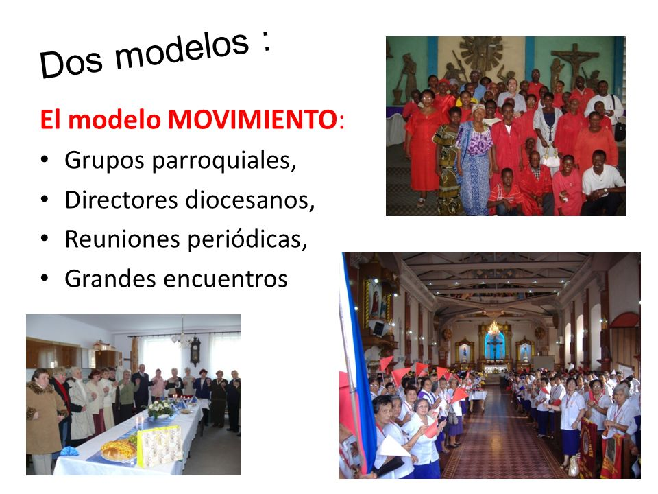 Dos modelos : El modelo MOVIMIENTO: Grupos parroquiales,