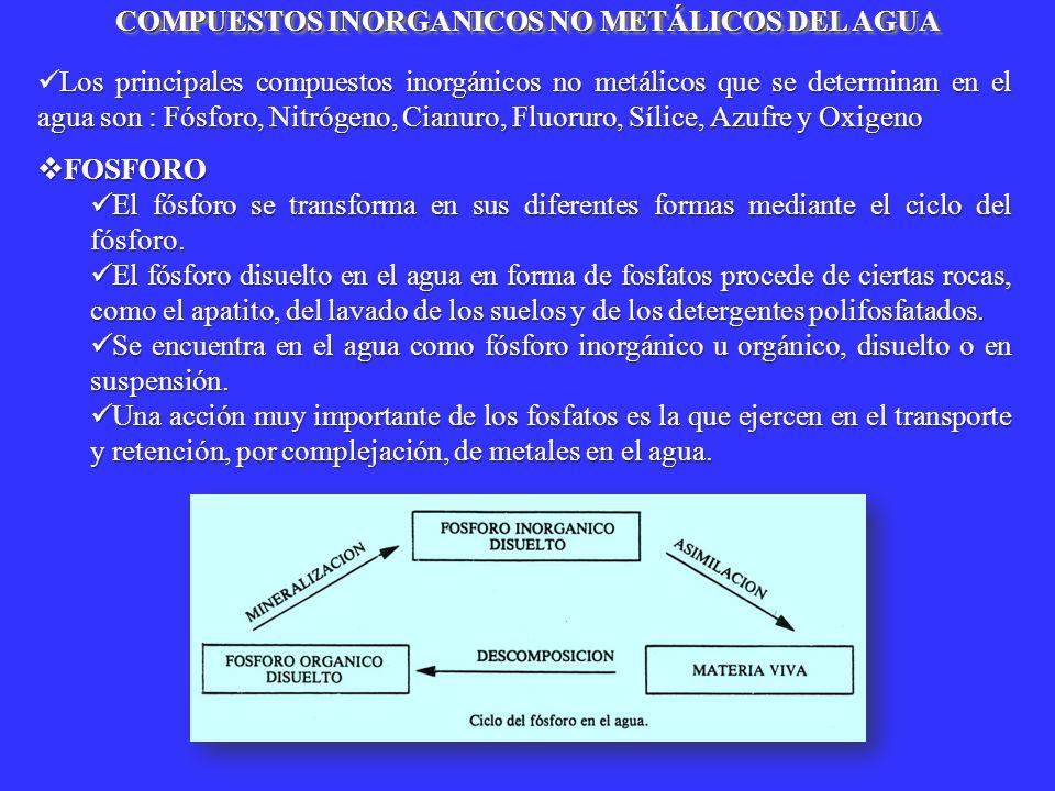 COMPUESTOS INORGANICOS NO METÁLICOS DEL AGUA