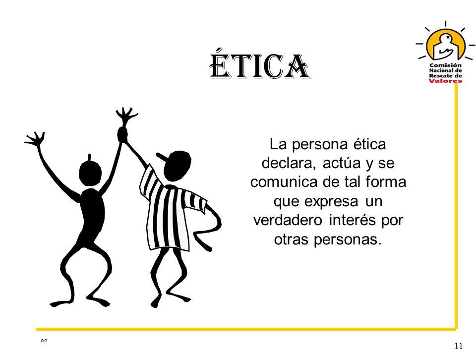 ÉTICA La persona ética declara, actúa y se comunica de tal forma que expresa un verdadero interés por otras personas.