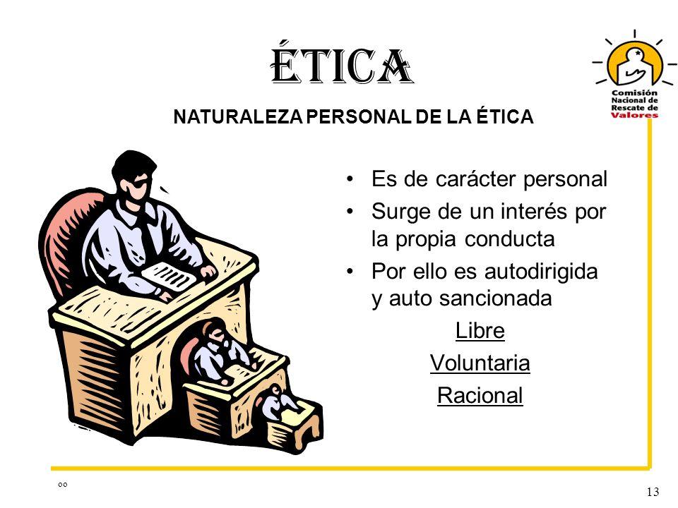 NATURALEZA PERSONAL DE LA ÉTICA