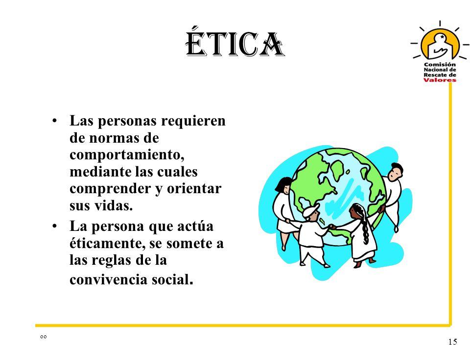 ÉTICA Las personas requieren de normas de comportamiento, mediante las cuales comprender y orientar sus vidas.