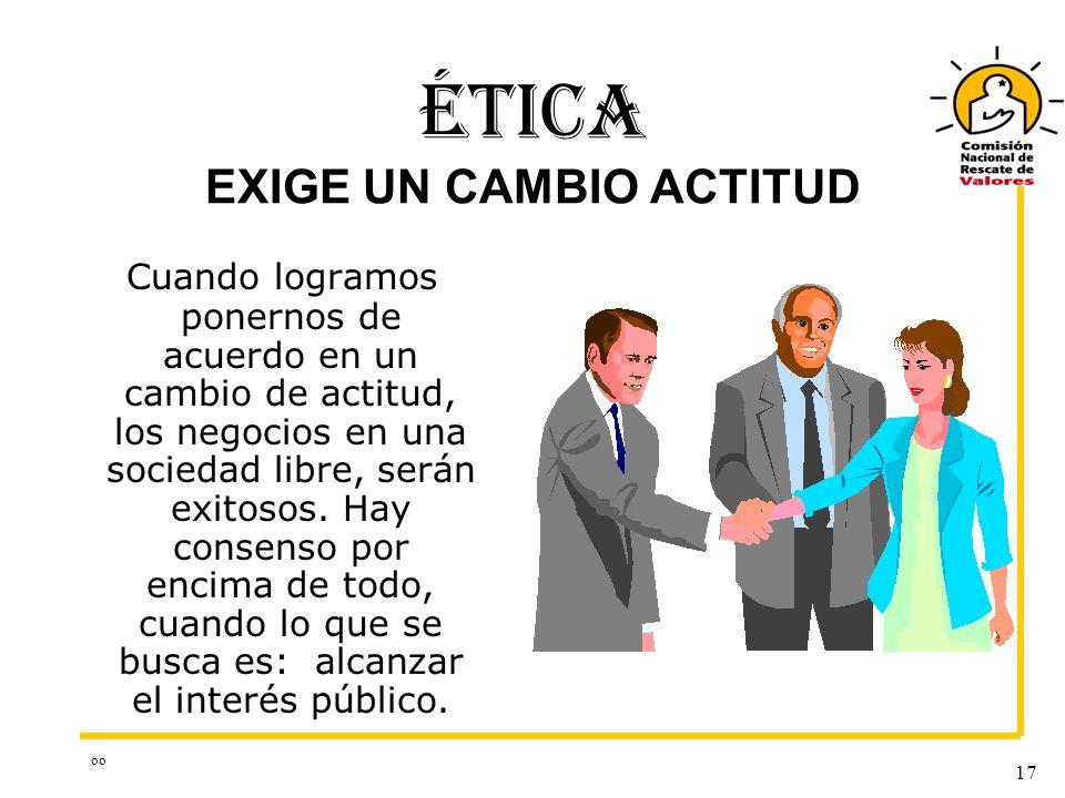 ÉTICA EXIGE UN CAMBIO ACTITUD