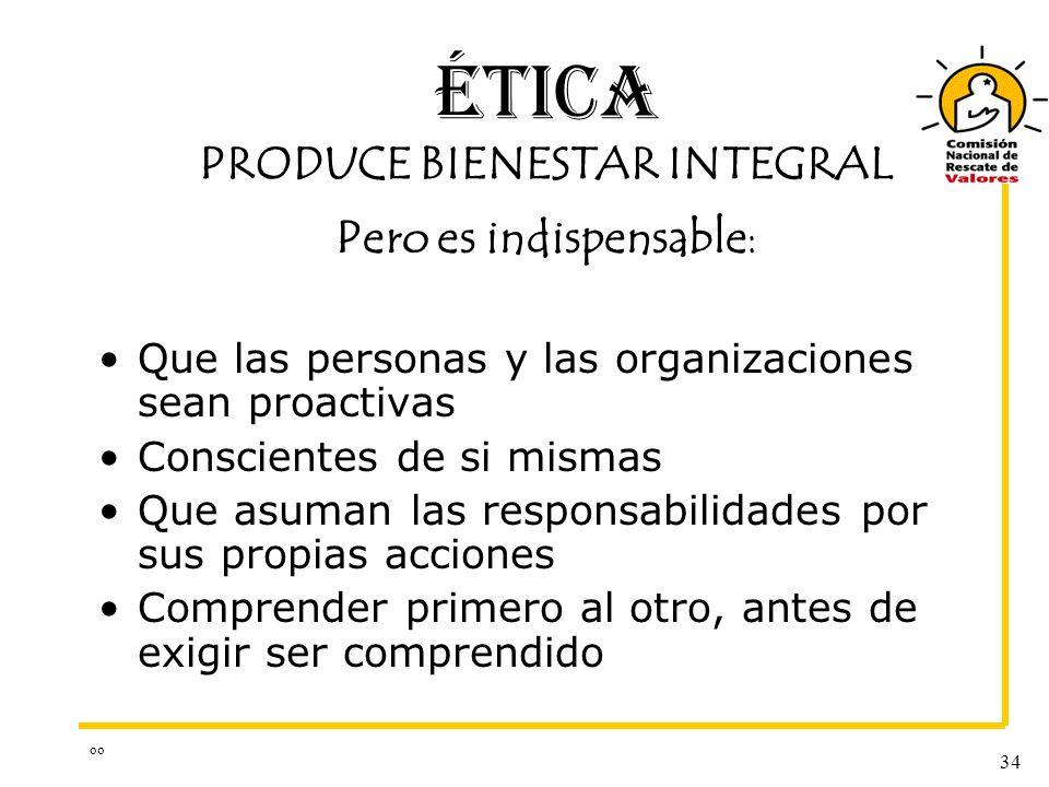 ÉTICA PRODUCE BIENESTAR INTEGRAL