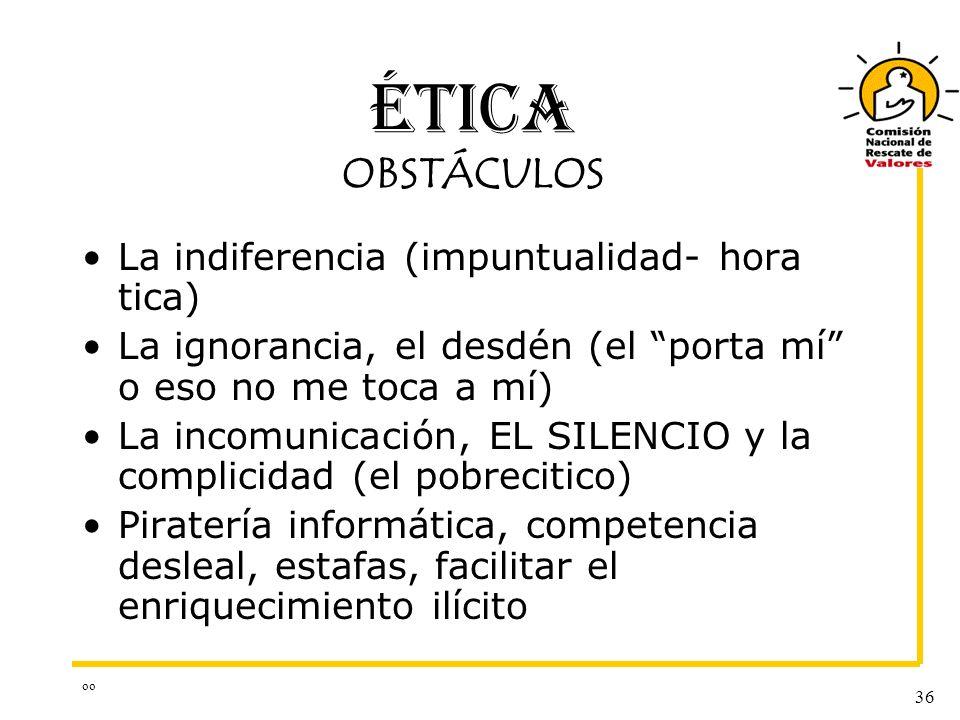 ÉTICA OBSTÁCULOS La indiferencia (impuntualidad- hora tica)