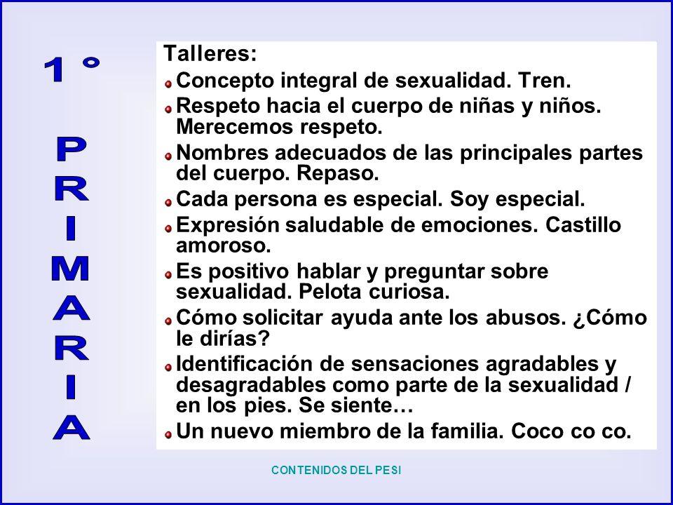 1° P R I M A Talleres: Concepto integral de sexualidad. Tren.