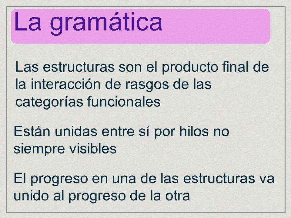 La gramática Las estructuras son el producto final de la interacción de rasgos de las categorías funcionales.