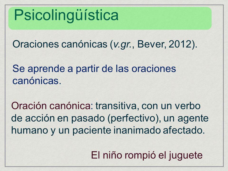 Psicolingüística Oraciones canónicas (v.gr., Bever, 2012).
