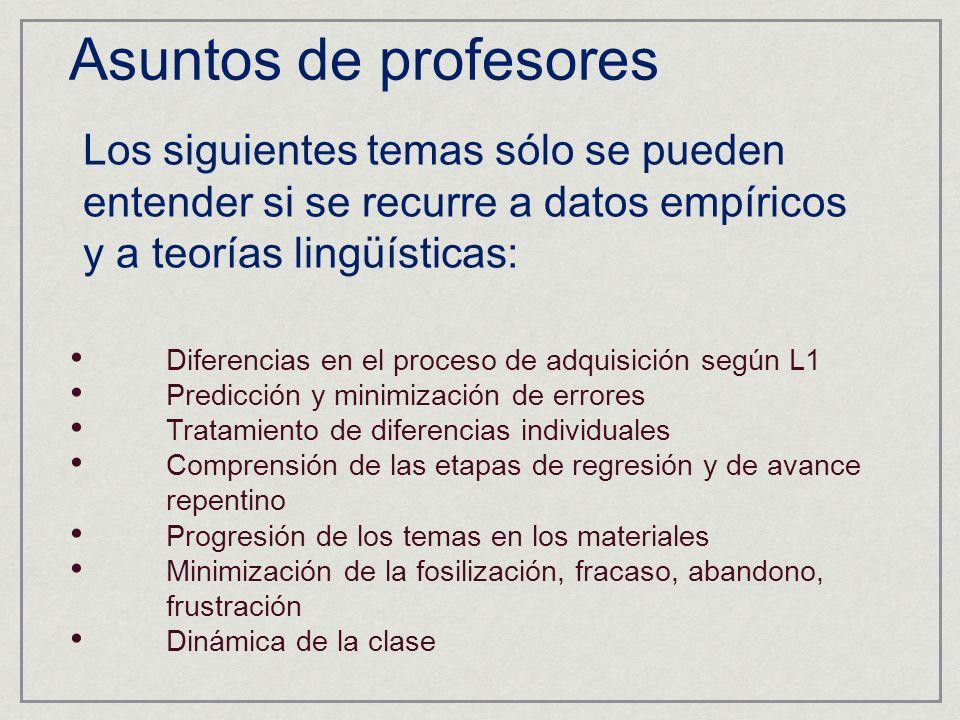 Asuntos de profesores Los siguientes temas sólo se pueden entender si se recurre a datos empíricos y a teorías lingüísticas: