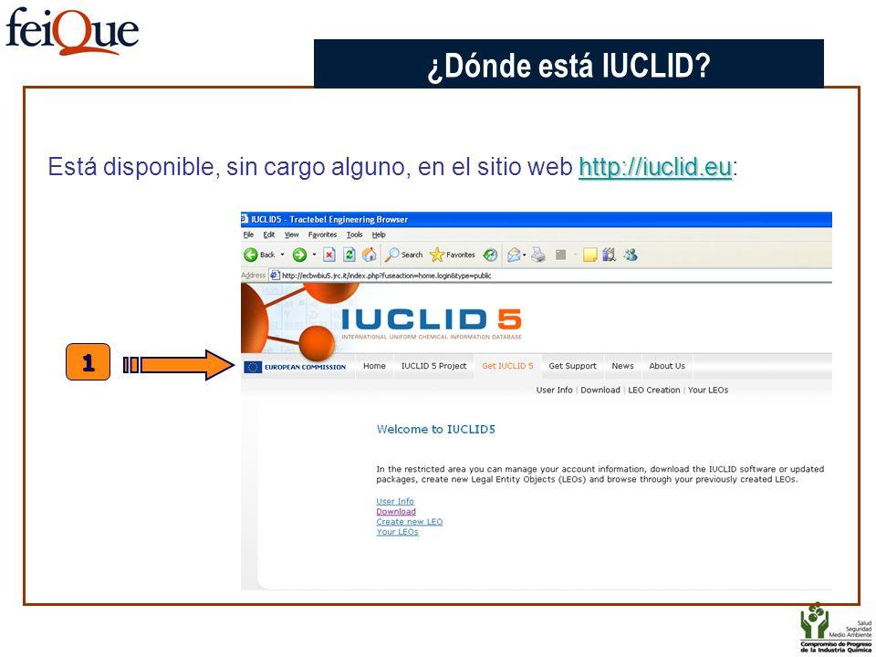 CHAPTER 3 ¿Dónde está IUCLID Está disponible, sin cargo alguno, en el sitio web http://iuclid.eu: