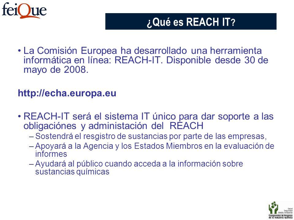 CHAPTER 3 ¿Qué es REACH IT La Comisión Europea ha desarrollado una herramienta informática en línea: REACH-IT. Disponible desde 30 de mayo de 2008.