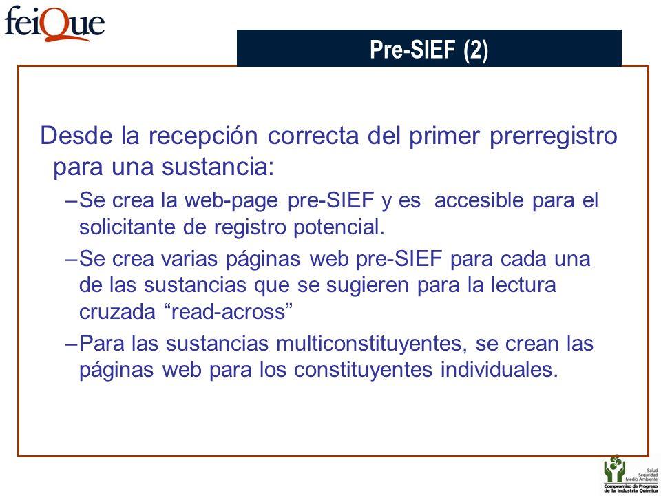 CHAPTER 3 Pre-SIEF (2) Desde la recepción correcta del primer prerregistro para una sustancia: