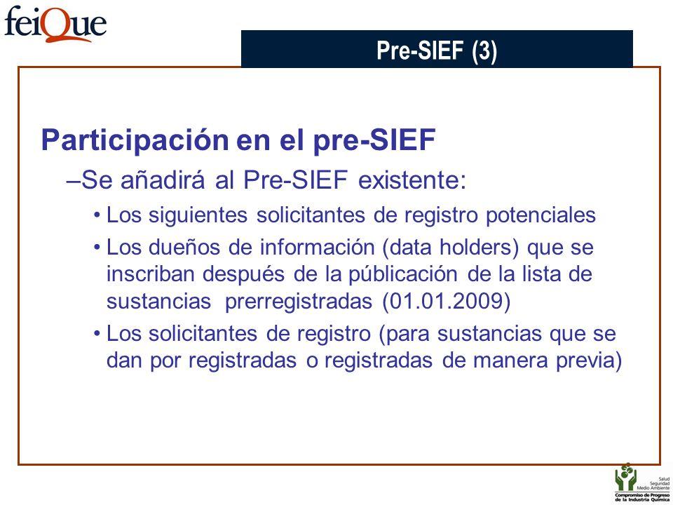Participación en el pre-SIEF