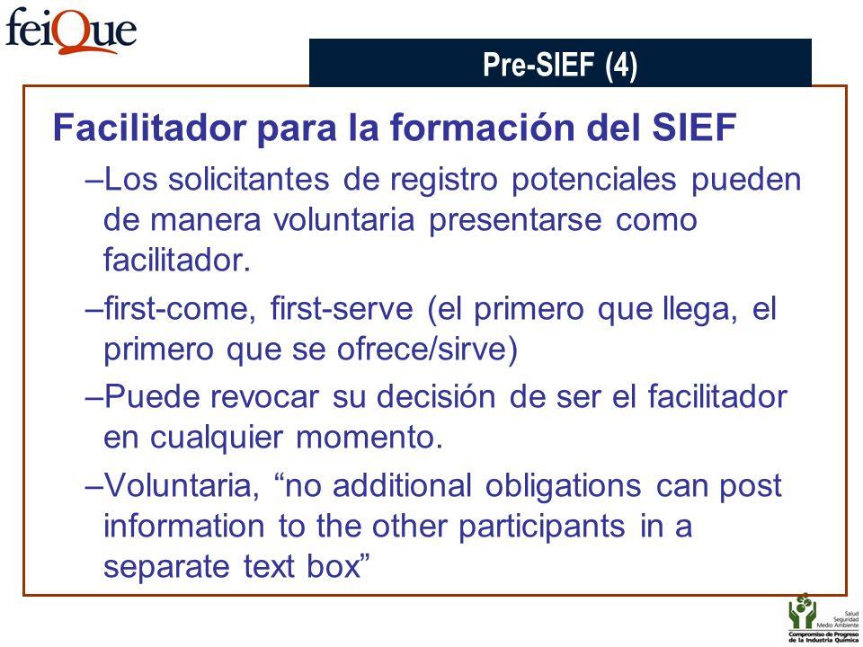 Facilitador para la formación del SIEF