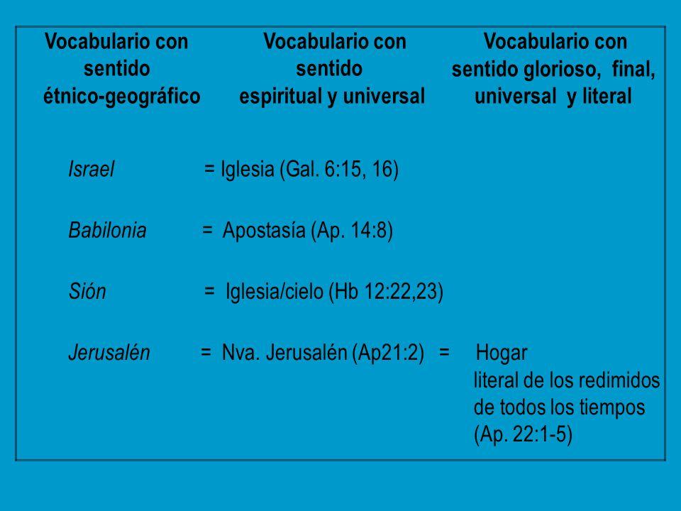 Vocabulario con sentido étnico-geográfico espiritual y universal