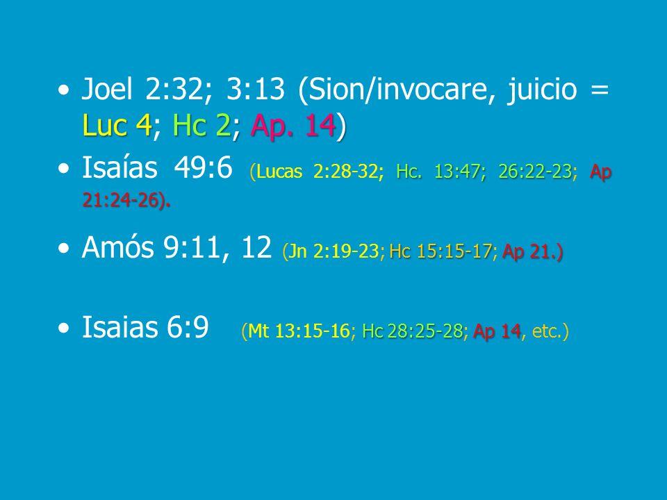 Joel 2:32; 3:13 (Sion/invocare, juicio = Luc 4; Hc 2; Ap. 14)