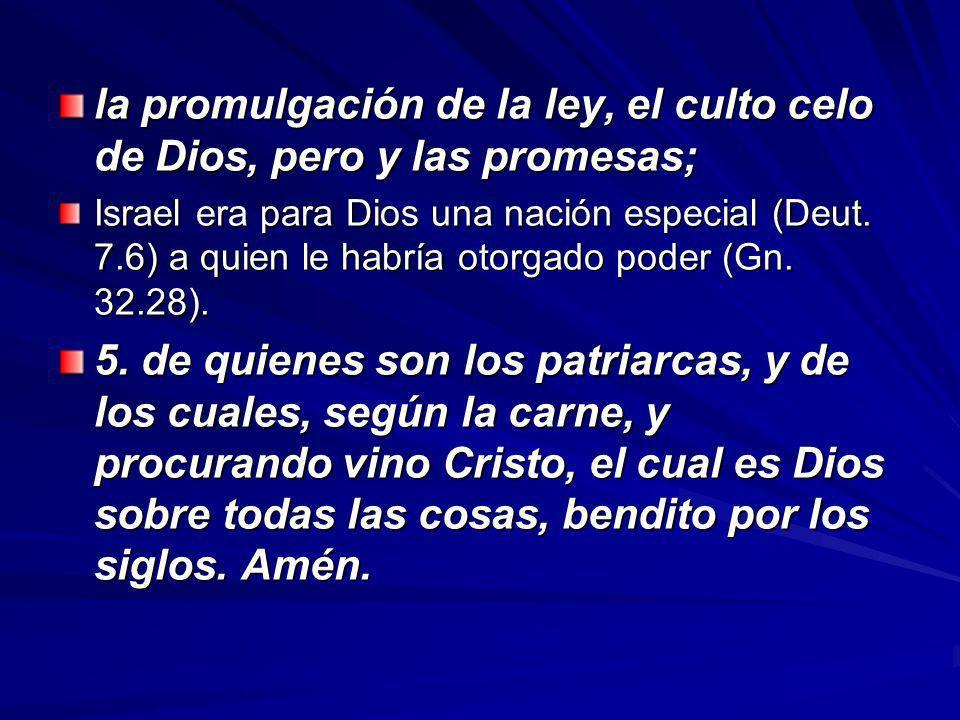 la promulgación de la ley, el culto celo de Dios, pero y las promesas;