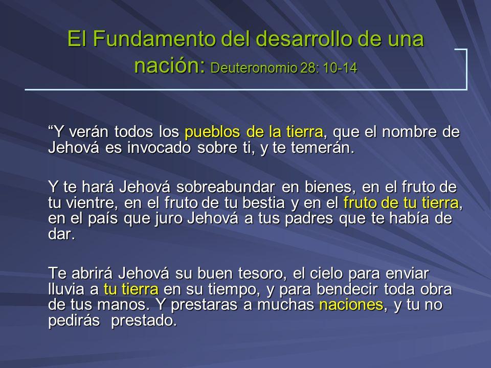El Fundamento del desarrollo de una nación: Deuteronomio 28: 10-14