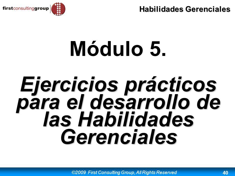Ejercicios prácticos para el desarrollo de las Habilidades Gerenciales