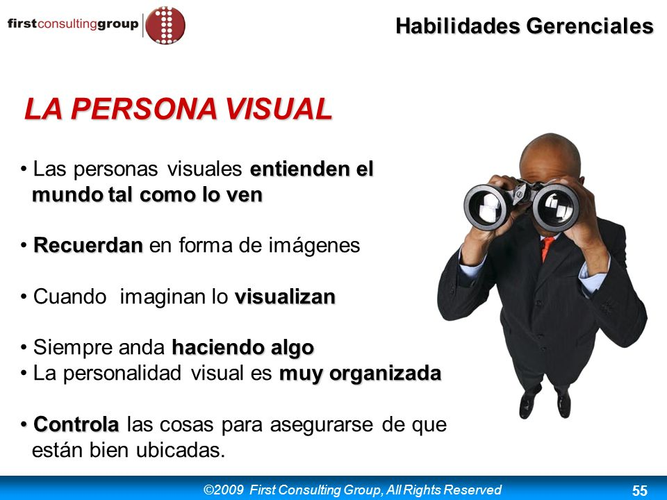 LA PERSONA VISUAL Las personas visuales entienden el