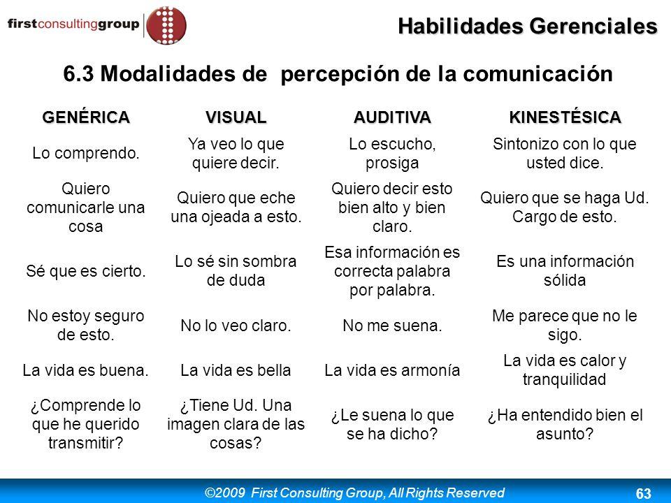 6.3 Modalidades de percepción de la comunicación