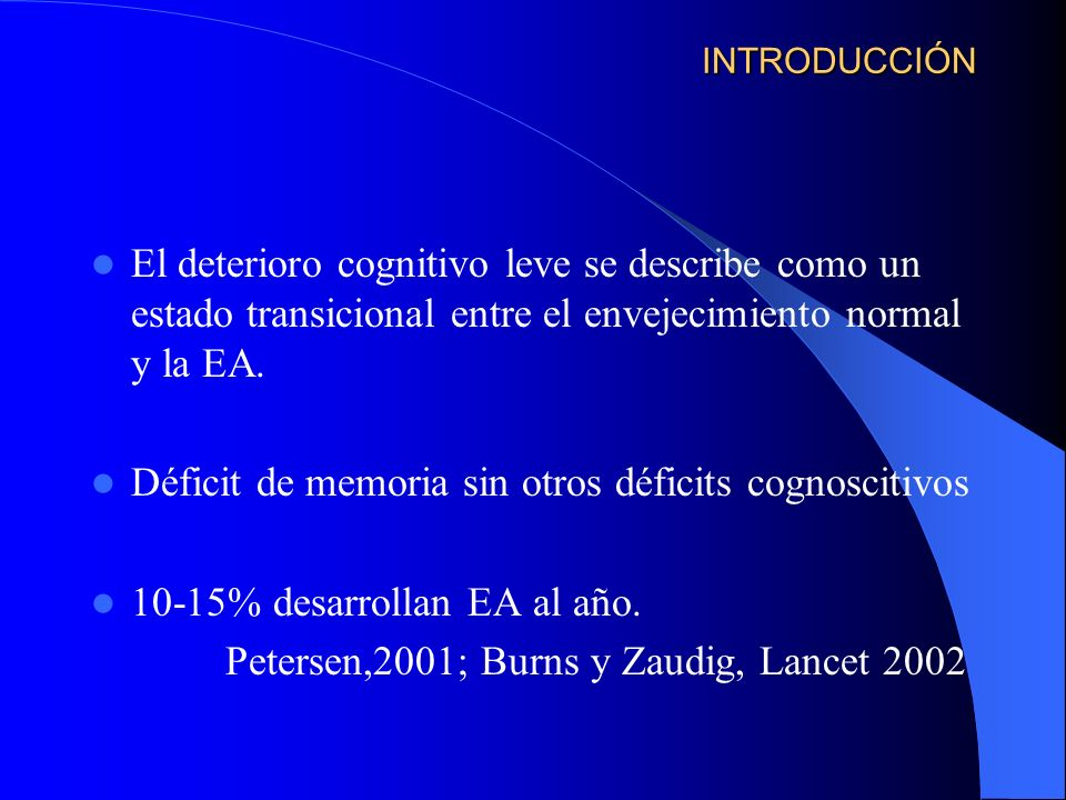 Déficit de memoria sin otros déficits cognoscitivos