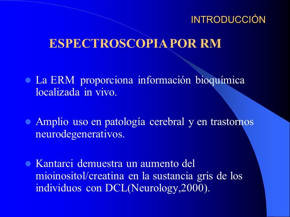 INTRODUCCIÓN ESPECTROSCOPIA POR RM. La ERM proporciona información bioquímica localizada in vivo.