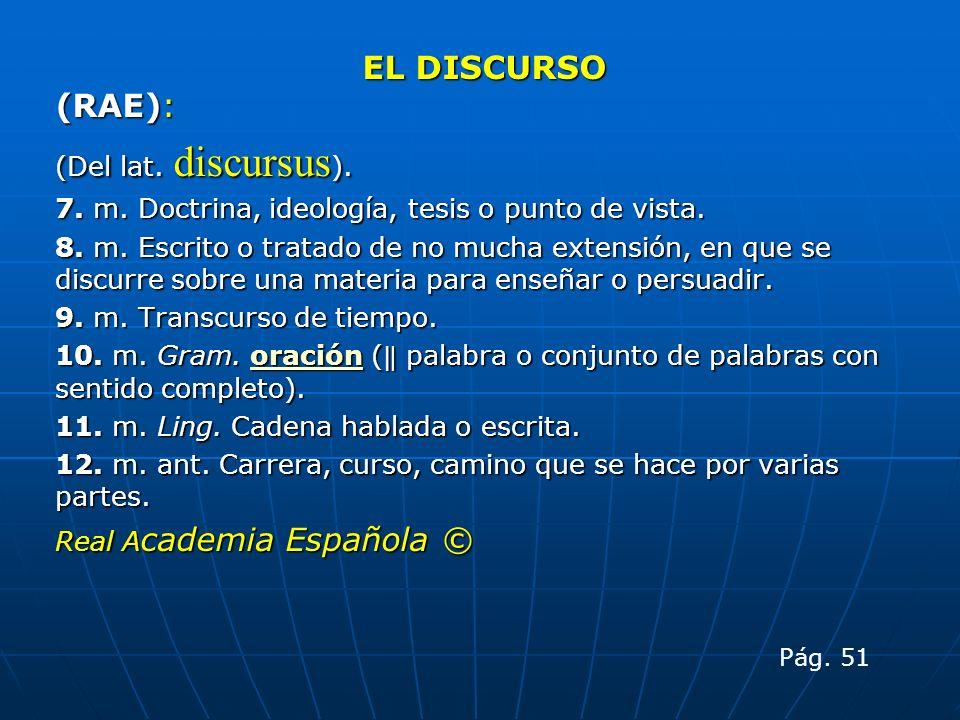 EL DISCURSO (RAE): (Del lat. discursus).