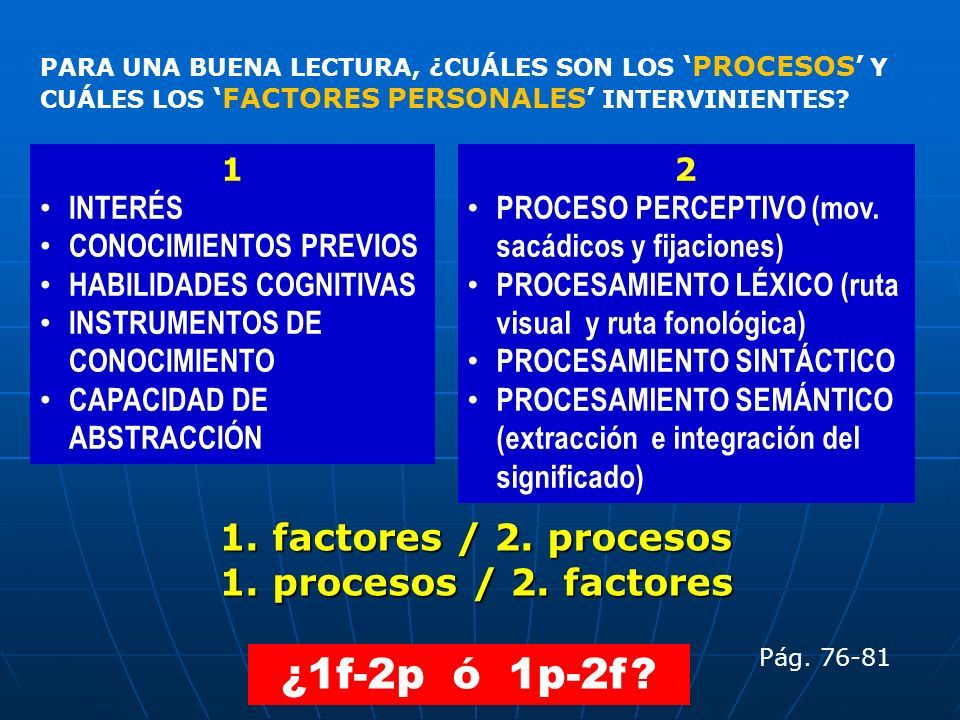 1. factores / 2. procesos 1. procesos / 2. factores