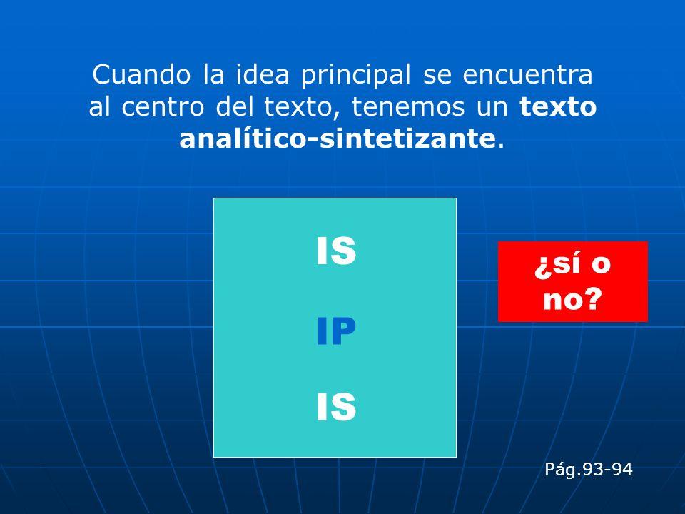 Cuando la idea principal se encuentra al centro del texto, tenemos un texto analítico-sintetizante.