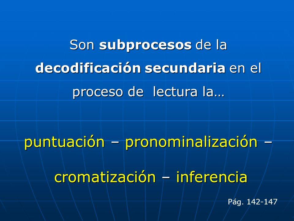 puntuación – pronominalización – cromatización – inferencia