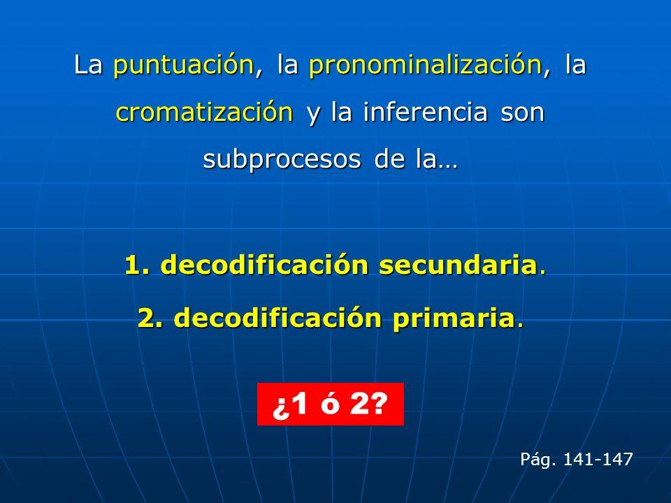 La puntuación, la pronominalización, la cromatización y la inferencia son subprocesos de la…