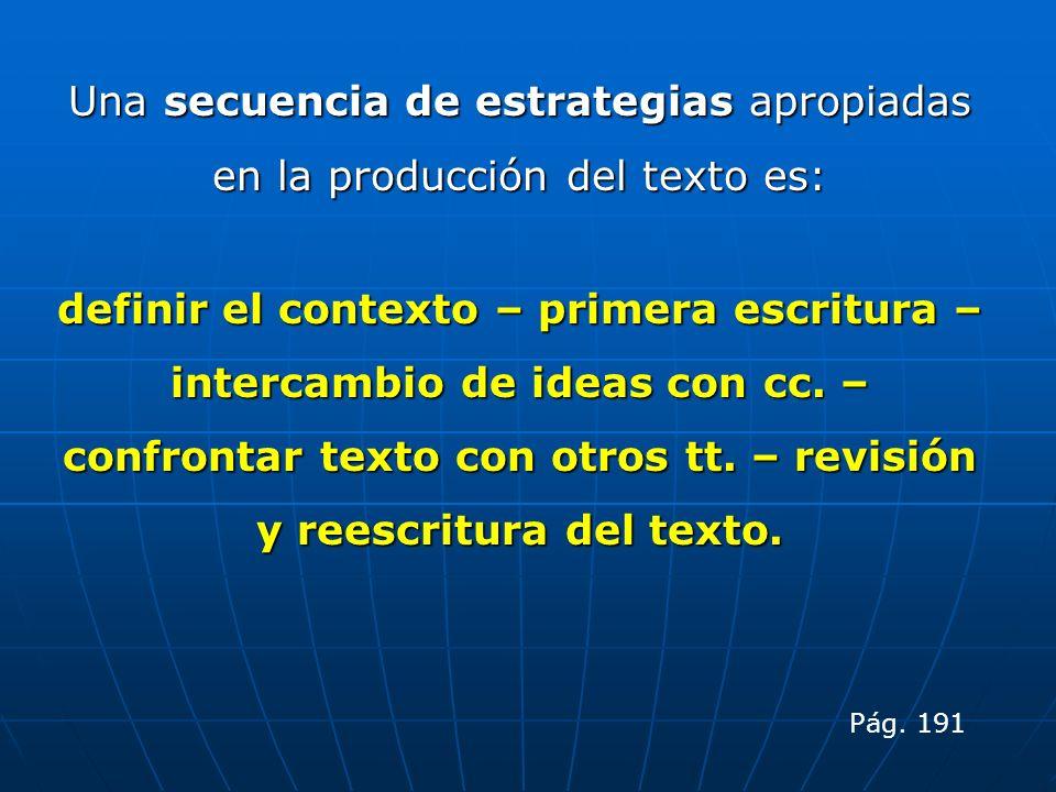 Una secuencia de estrategias apropiadas en la producción del texto es: