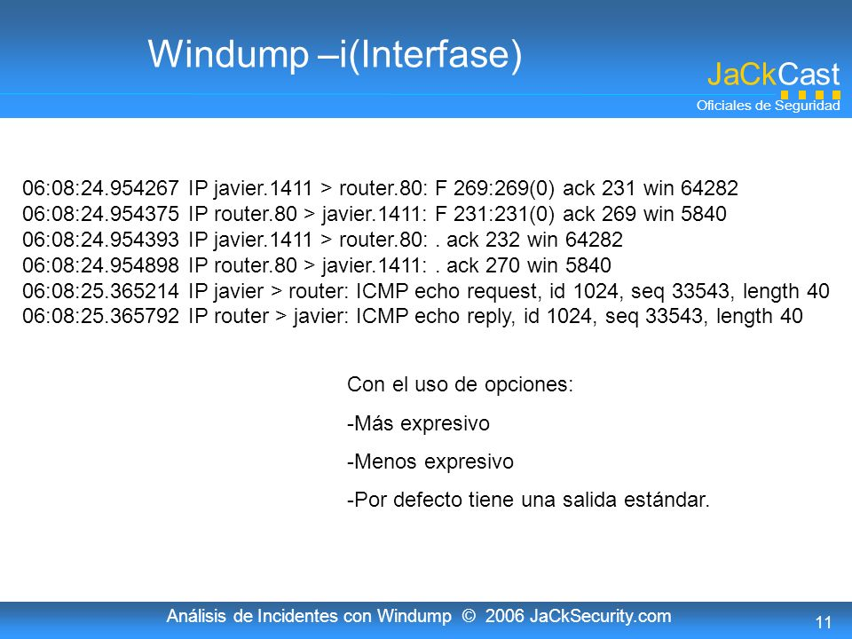 Windump –i(Interfase)