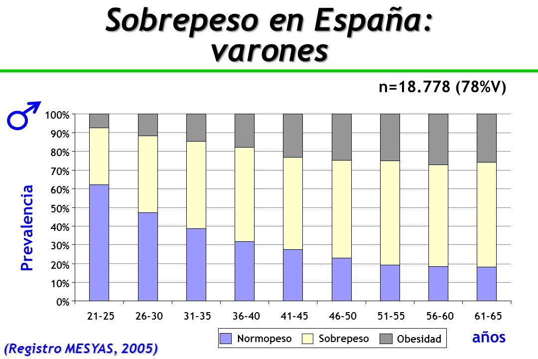 Sobrepeso en España: varones