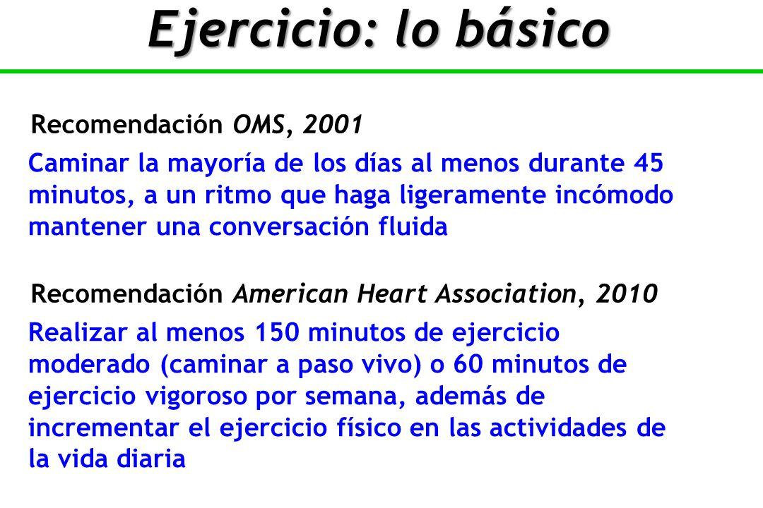 Ejercicio: lo básico Recomendación OMS, 2001